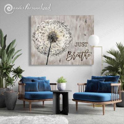 Canvaspersonalized-Grey-Dandelion-Canvas-Wall-Art-Just-Breathe